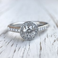 Diamond Halo ring in Platinum