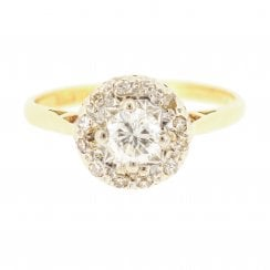 Diamond Halo Ring with Knife Edge Band