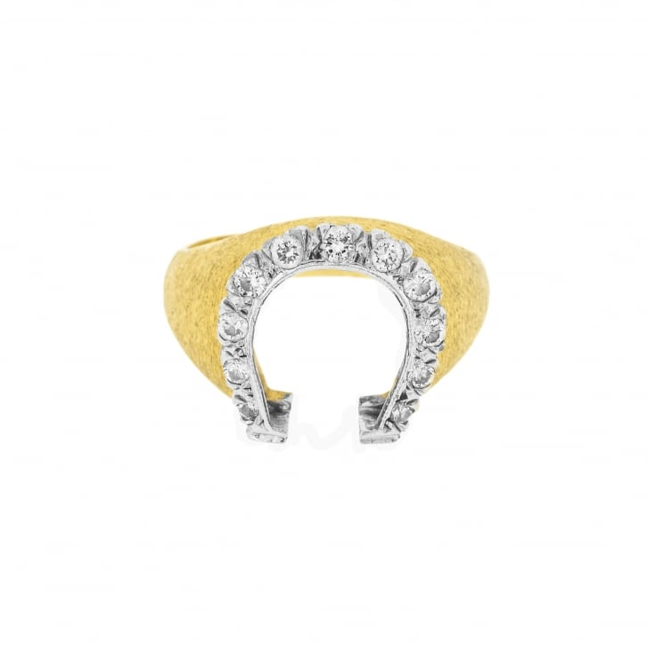 Diamond Horseshoe On Brushed Textured Ring