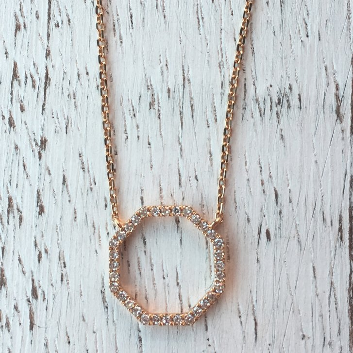 Richard Woo Diamond Octogon Necklace in Rose Gold