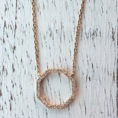 Diamond Octogon Necklace in Rose Gold