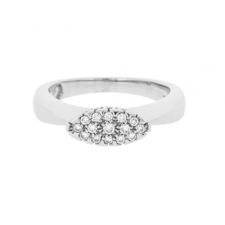 Diamond Oval Top Cluster Ring
