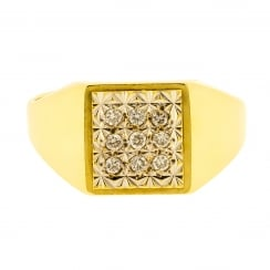 Diamond Panel Square Signet Ring
