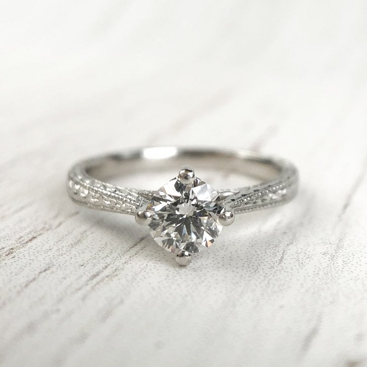 Diamond Platinum Engagement Ring with engraved shank