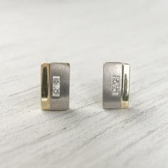 Diamond Rectangular Studs in Two Tone Gold