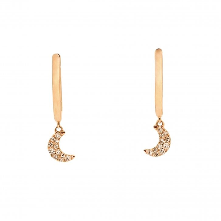 Richard Woo Diamond set moon mini hoops