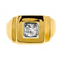 Diamond Set Square Signet Ring