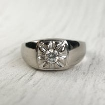 Diamond Signet Ring In White Gold