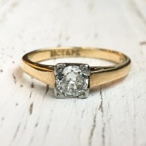 Diamond Single Stone Ring in Platinum and Yellow Gold