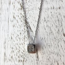 Diamond Square Pendant in White Gold