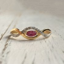 Diamond Stream and Synthetic Ruby ring