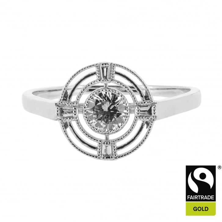 Lila's Diamond Target Ring in Fairtrade Gold