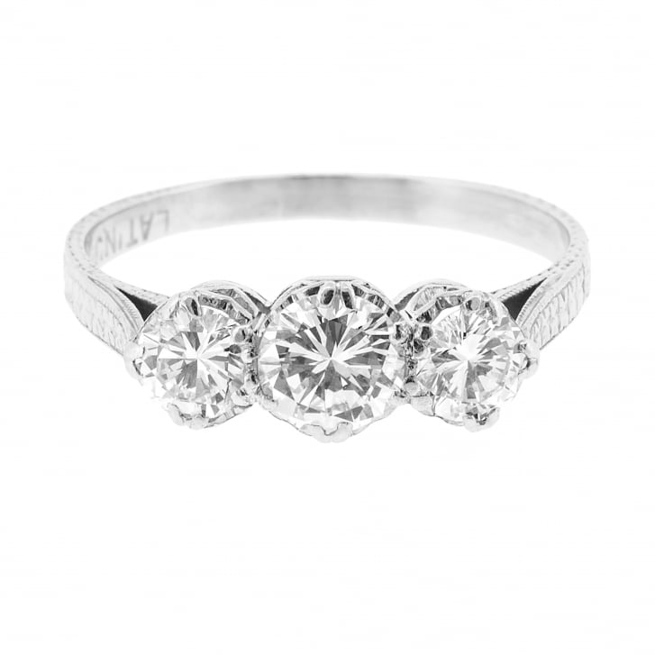 Diamond Trilogy Platinum Ring with Engraved Details