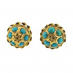Domed Turquoise Cluster Earrings