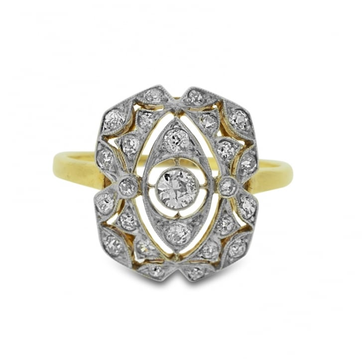 Edwardian A Jour Diamond Panel Ring