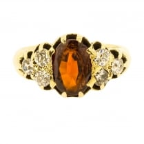 Edwardian Garnet and Diamond Ring