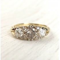 Edwardian Revival Brown Diamond Trilogy Ring in yellow gold