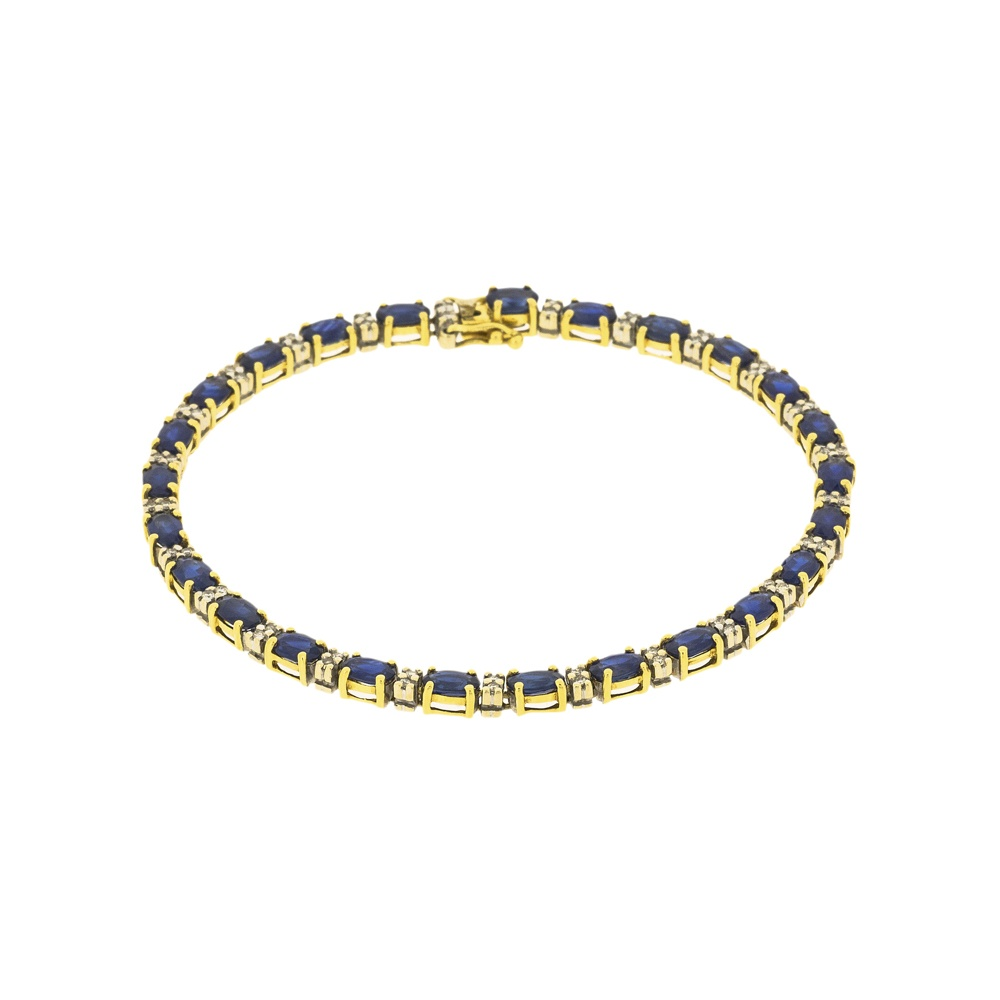 Elegant Oval Cut Sapphire And Diamond Tennis Bracelet