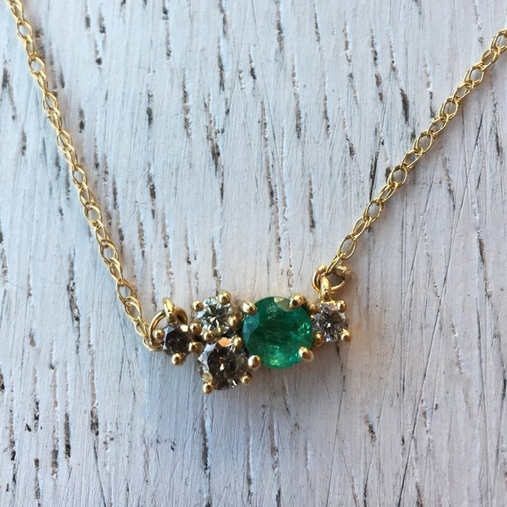 Lila's Emerald and Diamond Cluster Necklet
