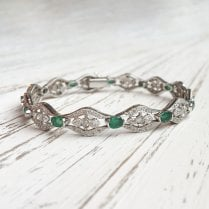 Emerald and diamond Deco Style Bracelet