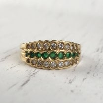 Emerald and Diamond Triple Row Ring