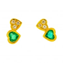 Emerald and Diamond Twin Hearts Stud Earrings