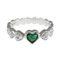 Emerald and Diamonds & Hearts Band
