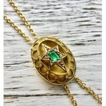 Emerald and Old Cut Diamond Lariat Necklace
