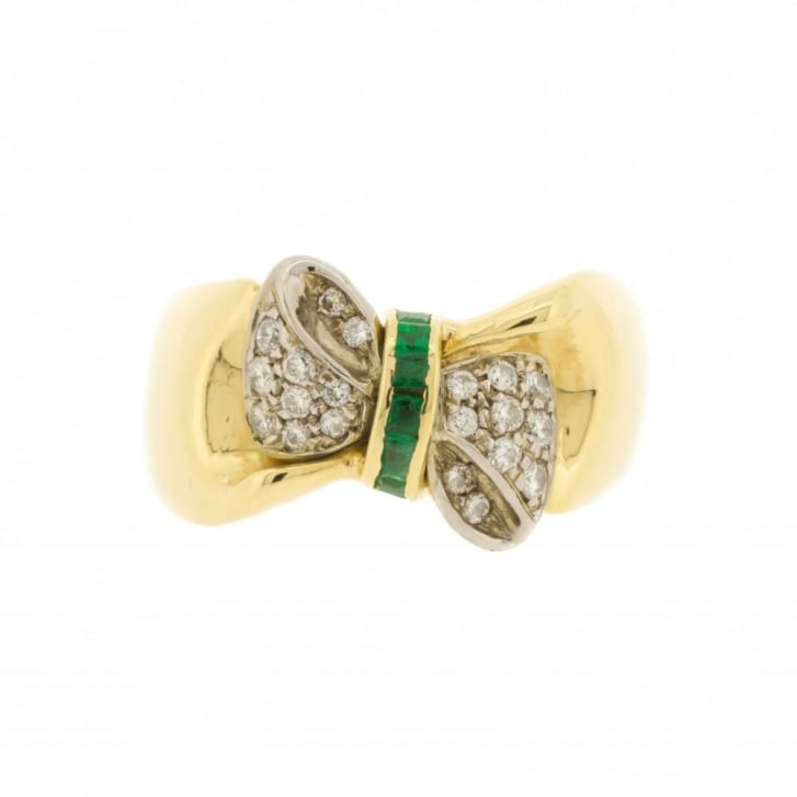 Emerald & Diamond Bow Ring