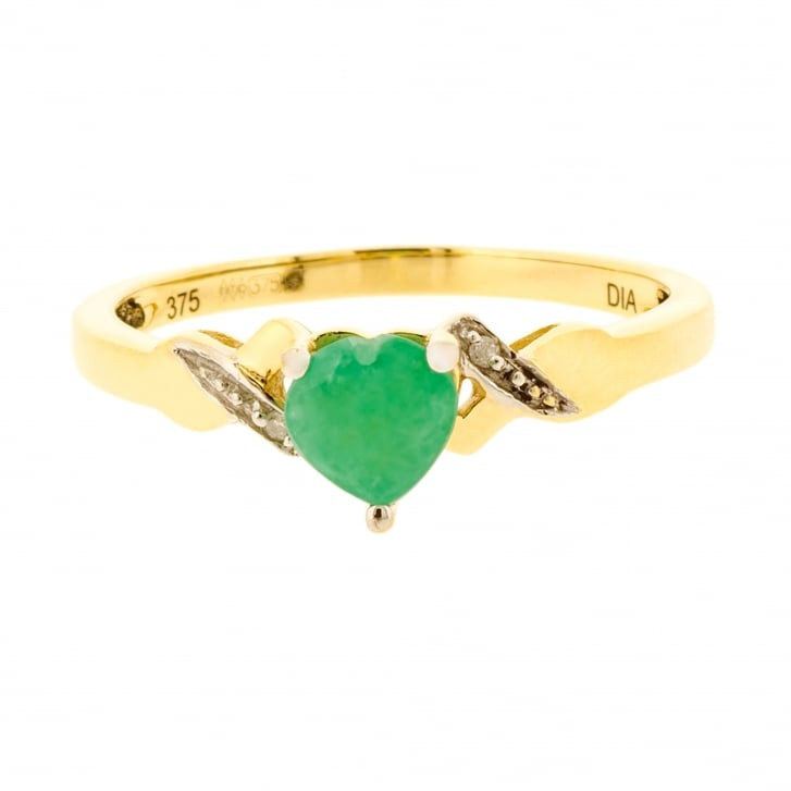Emerald Heart and Diamond accents ring