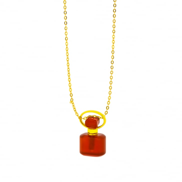Meli & Moli Energy Bottle Necklace with Carved Carnelian