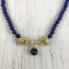 Etruscan Style Lapis Lazuli and Gold Necklace