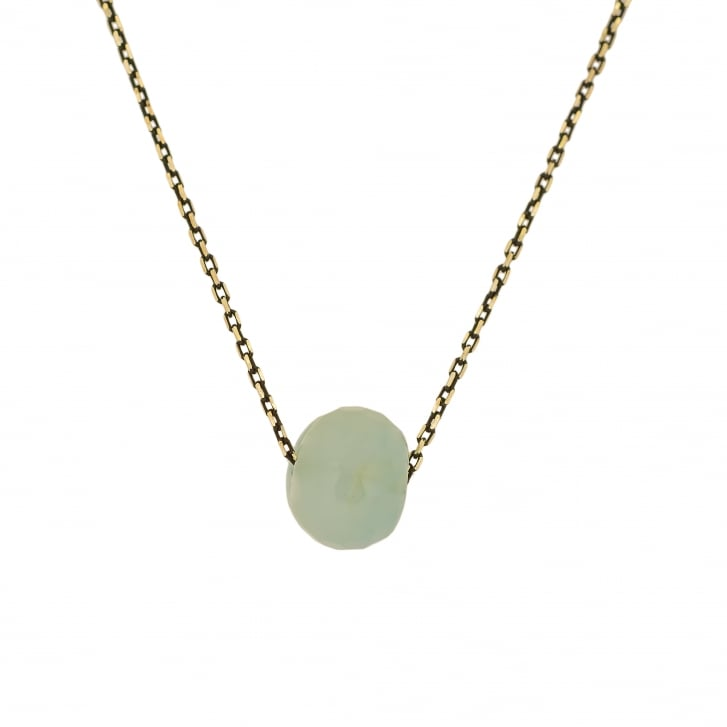 Karen Morrison Faceted Aquamarine Rondelle on Oxidised Chain Necklace