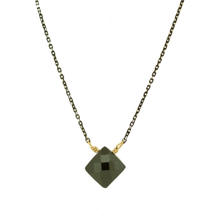 Karen Morrison Faceted Cushion Black Spinel on Oxidised Chain Necklace