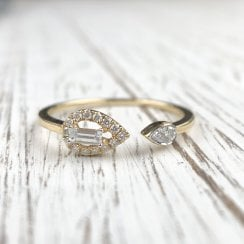 Fancy Cut Diamond Open Ring in Yellow Gold