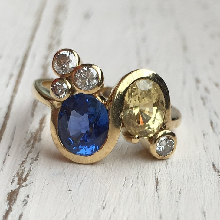 Fancy Ring with Yellow and Blue Sapphires