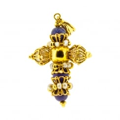 Filigree, Lapis and Pearl highly decorated Cross Pendant