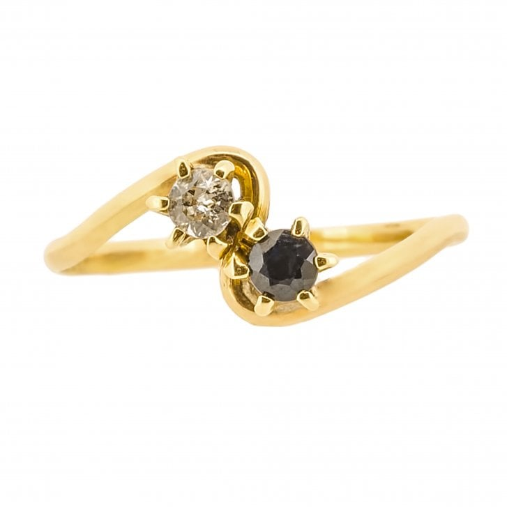 Fine Imitation Sapphire and Diamond Set Ring