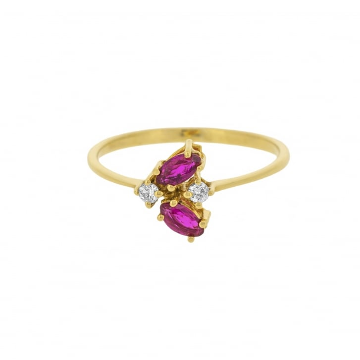 Fine Marquise Cut Ruby with Diamond Accents Ring