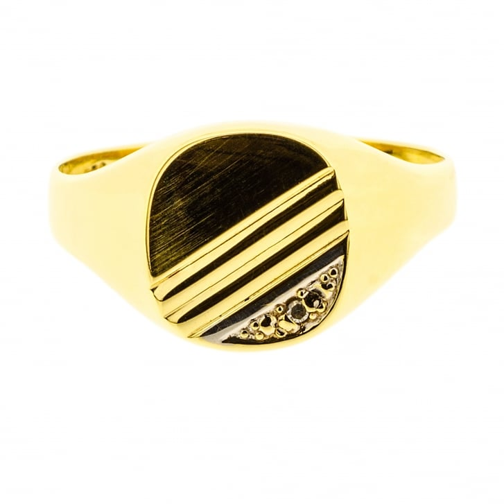 Fine Signet Ring with Diamond touch and Linear detailing