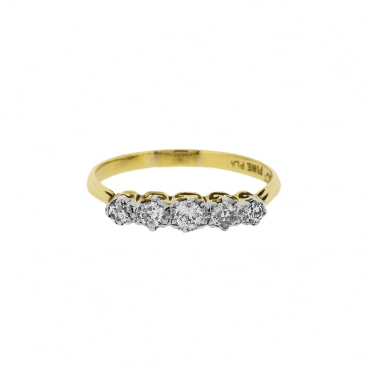 Five Diamond Foliate Ring