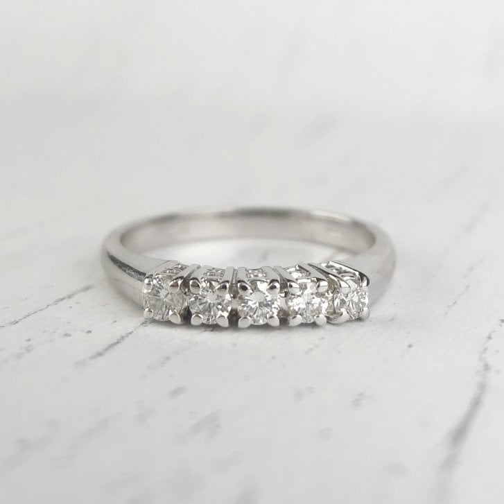 Five Diamond Ring in White Gold