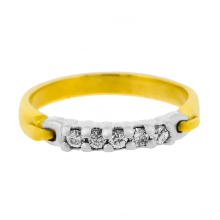 Five Diamond Set Buckle Motif Ring