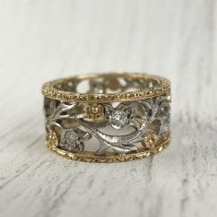 Fleur de Lis Scrolling Ring in Two Tone Gold