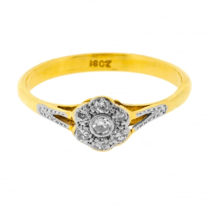 Floral Cluster Single Cut Diamond Ring