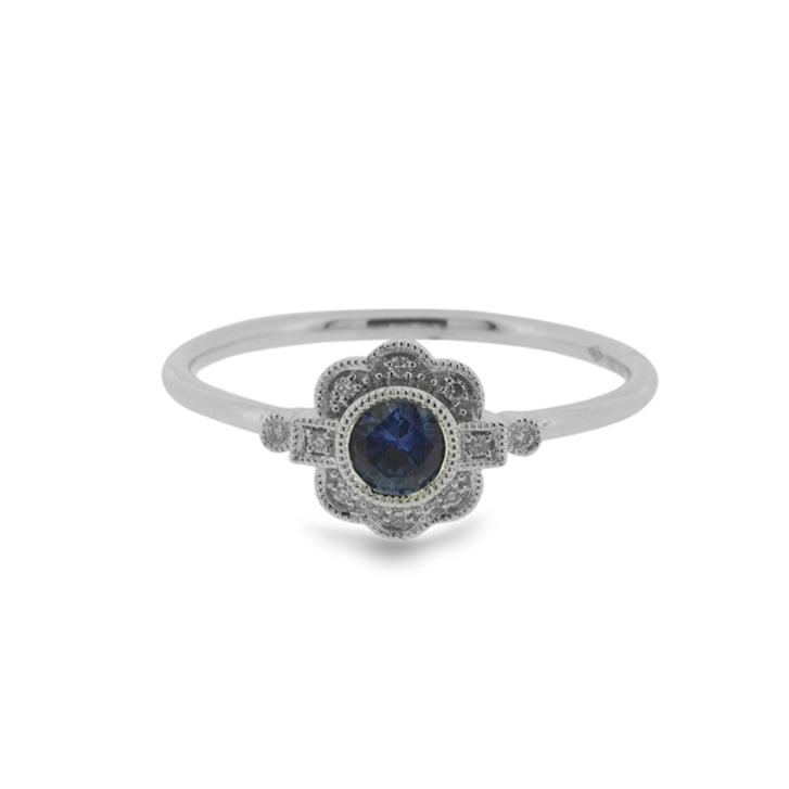 Richard Woo Floral Sapphire And Diamond Millegrained Ring