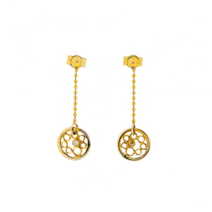 Flower Disc Stud Earrings with Diamonds