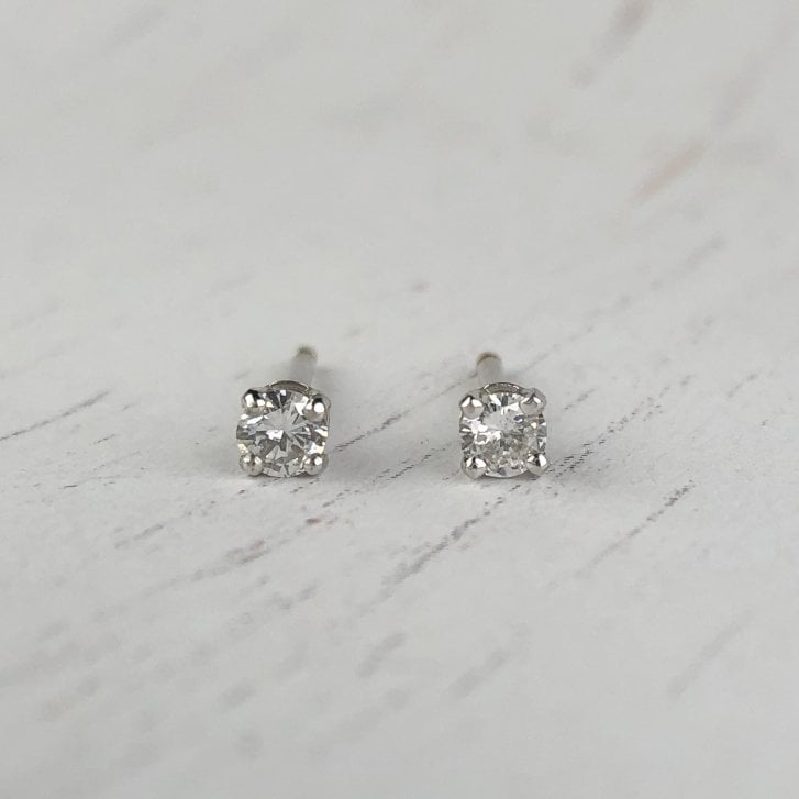 Four Claw Diamond Studs in White Gold