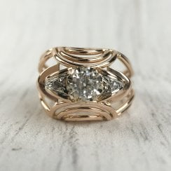 French Diamond Retro Bombe Ring