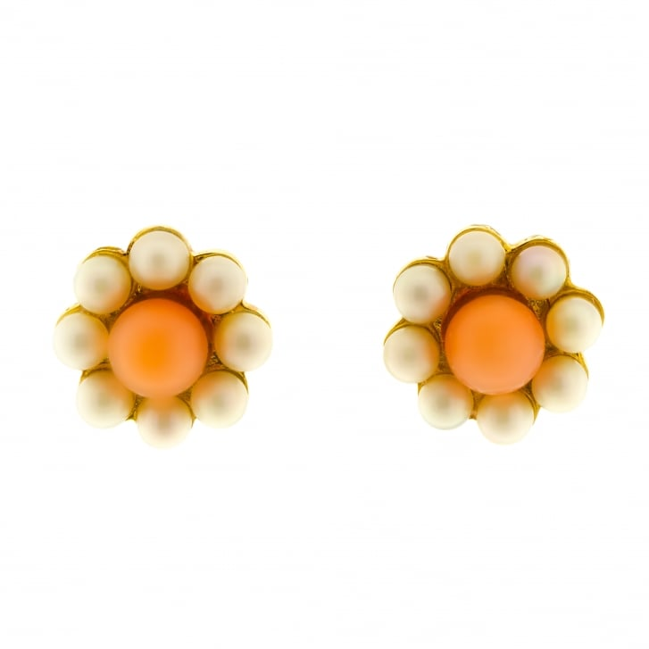 Freshwater Pearl and Coral Beaded Floral Cluster Stud Earrings